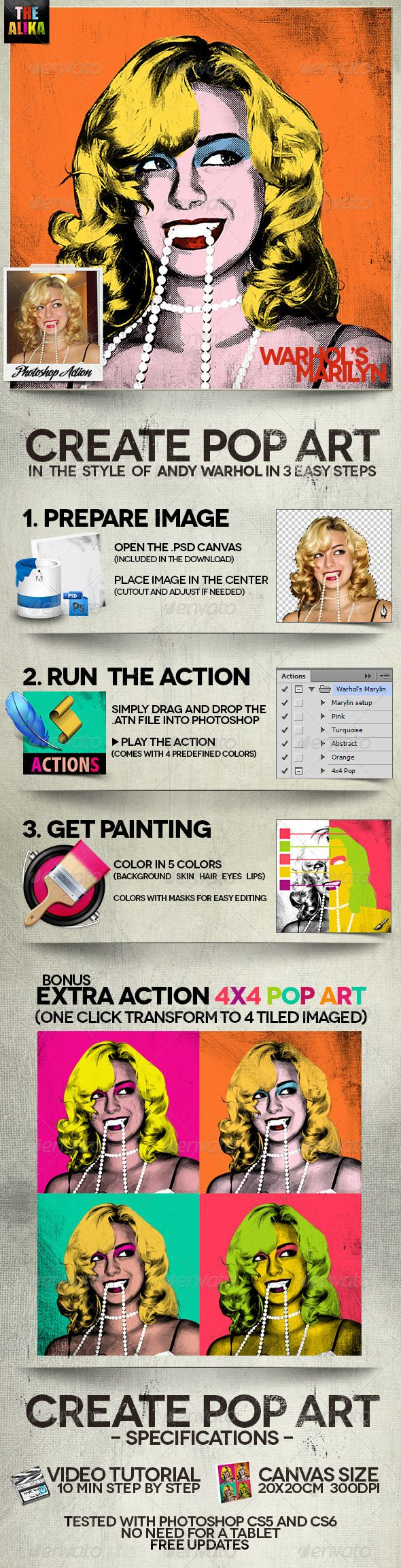 Create POP ART - Photoshop Action - Warhol Style