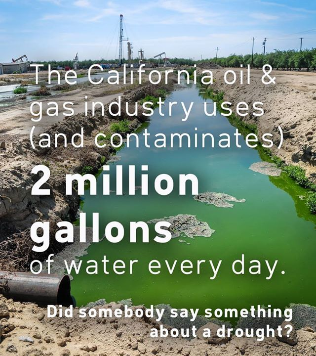 """""""According to new analysis by Californians Against Fracking, the California oil & gas industry uses over 2 million gallons per day on activities like fracking, acidizing, and cyclic steam injection. Read more here: http://go.350.org/Y5XxHG """""""