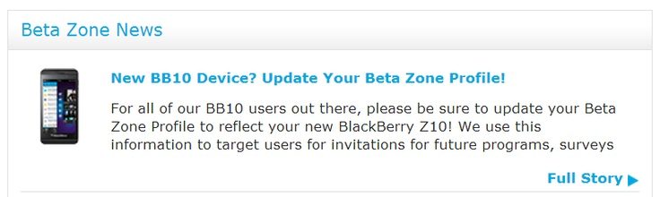 cool New BlackBerry Z10 User? Update Your Beta Zone Profile NOW!!