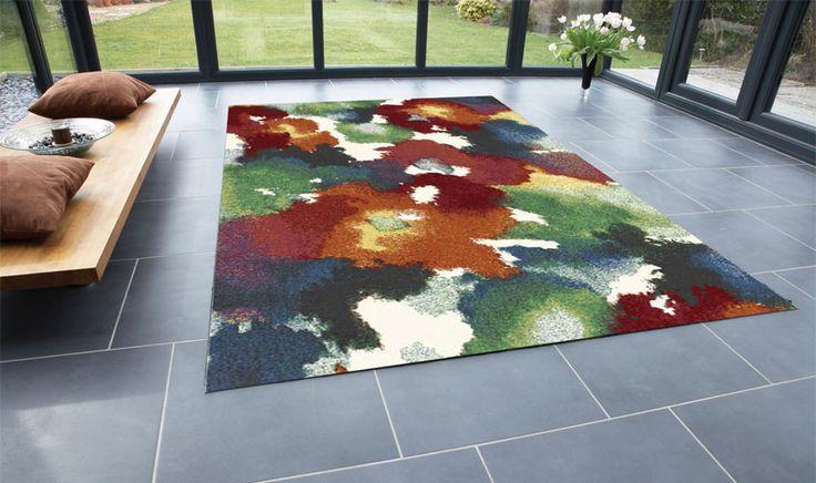 Tappeto collezione CAPRI 32639-6369 con disegno floreale colorato