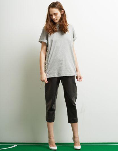 Le Ciel Bleu Lace-Up Long Tee and CS Bouded Leather Pants