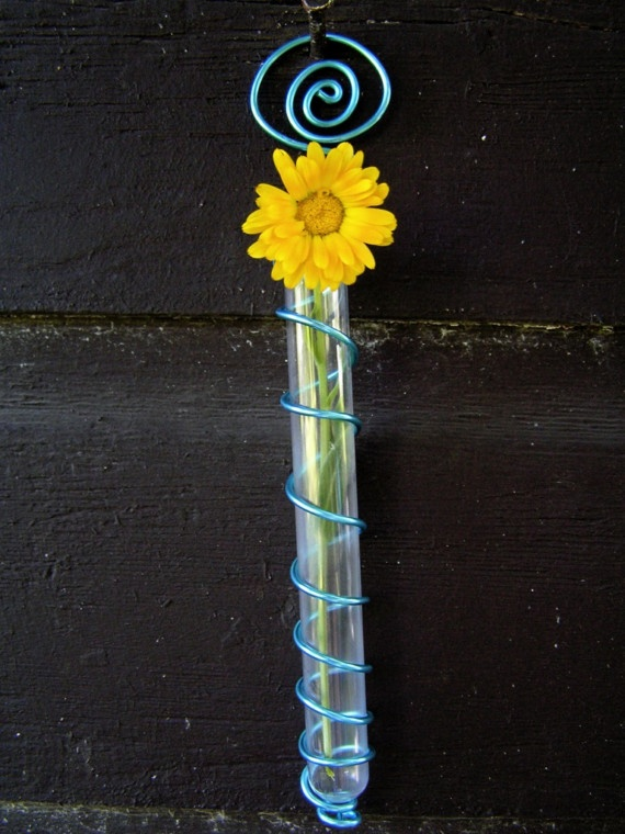 Blue Test Tube Flower Vase by enamor on Etsy