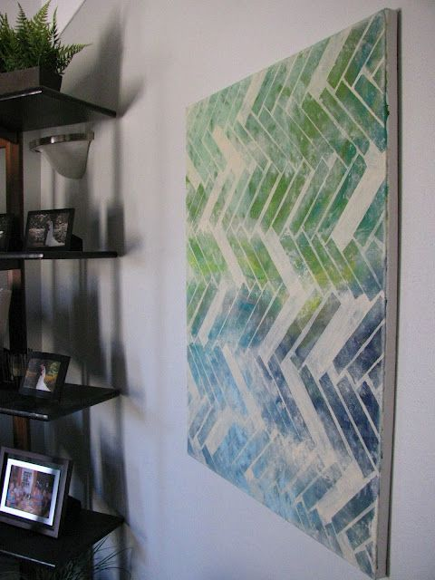 """herringbone painting « Fairly Crafty  Love this version of this idea. These are definitely """"my"""" colours!"""