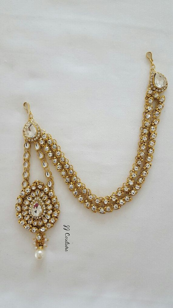 Designer Bollywood Gold Kundan Matha Patti Gold Side Matha Patti Indian Headpiece Gold Headpiece Gold Kundan Maang Tikka Kundan Jewelry