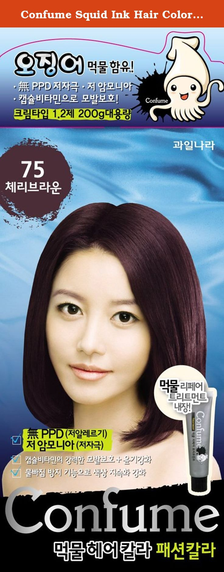 Confume Squid Ink Hair Color 75 - Cherry Brown (No Ammonia). *Healthy and glossy hair with natural squid ink:The product contains a molecule structure very close to the melanin (Eumelanin) found in hair, and so it causes less damage to the hair or stimulation to the scalp compared to chemical hair dyes. With the excellent 'Color Lock System' this effective dye offers clear color to gray hair after operation. Also, mucopolysacharide and taurine give softness and gloss to the hair. **Low...