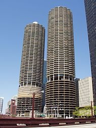 Marina City in Chicago, Illinois, United States built in 1959 was a landmark in apartment construction