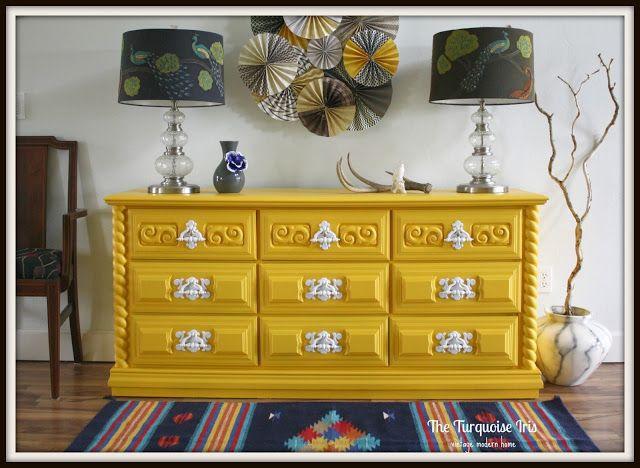 The Turquoise Iris: Yellow Vintage Dresser