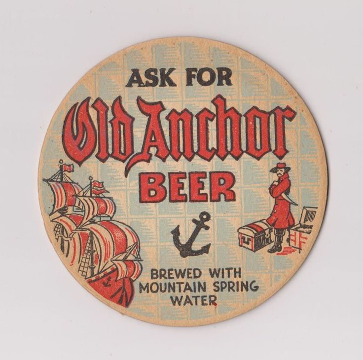 1930s Beer Coaster for OLD ANCHOR BEER from PENNSYLVANIA PA !!
