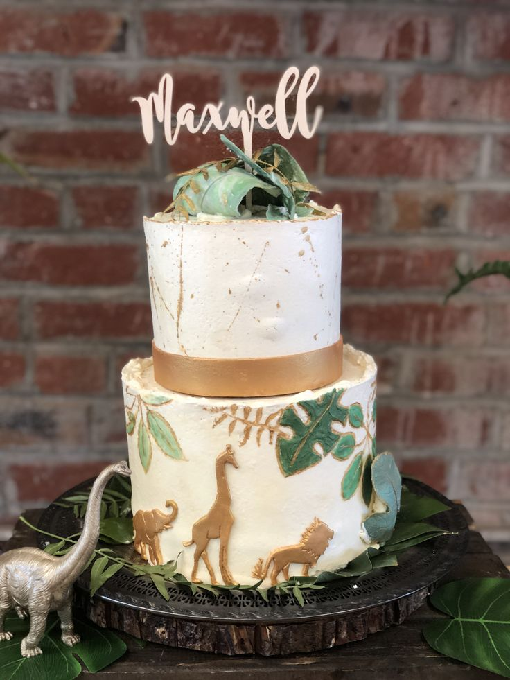 Animal Safari And Dino Botanical Cake Green And Gold