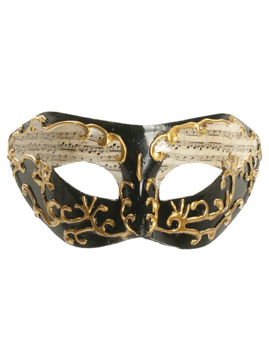 unisex tie mask black and gold with music notes halloween costumes fancy dress - Online Halloween Music