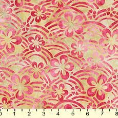 Asian Legacy 5 Collection by Lunn Studios. Scattered flowers and abstract landscapes. Ruby, apple, rust, and celery. 100% cotton batik, 42-45in wide.