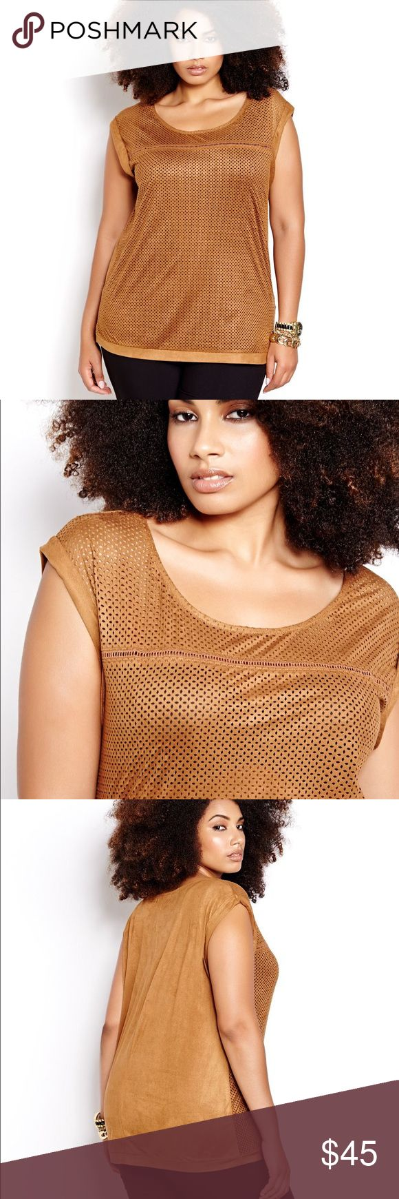 Addition Elle Perforated Faux Suede Top Beautiful sueded top Addition Elle in the dress perfect cognac / toffee color. Sexy perforated design on the front (will require a cami or tank underneath) and solid back. Round neckline, extended sleeveless shoulders. Soft and stylish, pairs great with boots and a cardigan! Addition Elle Tops Blouses