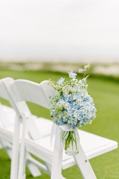 Simple blue hydrangea and delphinium ceremony aisle markers - beautiful! {Riverland Studios}