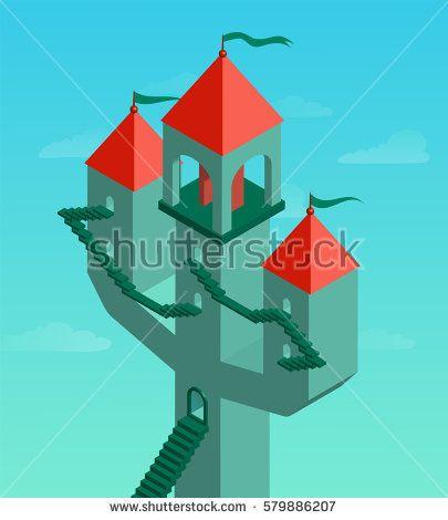 Fantastic castle on a turquoise background. Vector illustration.