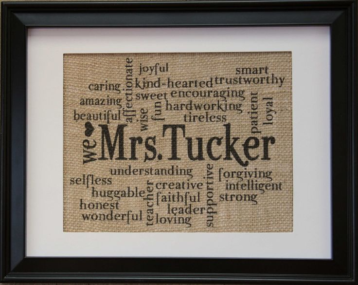 Teacher Gift  Teachers Name on Burlap  Burlap by BurlapPrintShop, $20.00
