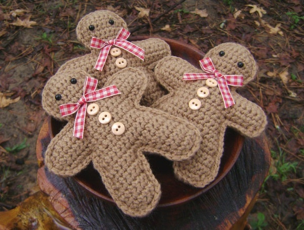 Crochet Gingerbread Man Set of 3 Christmas Decoration Bowl Filler Shelf Sitter Toy. $21.00, via Etsy.