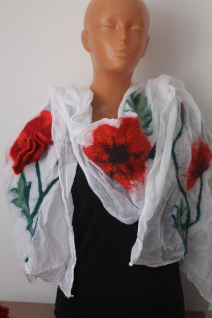 Nuno felted scarf on cotton scarf /  poppy flower / red poppy / Felted scraf / felted red poppy / by RozalkaFeltAndWool on Etsy
