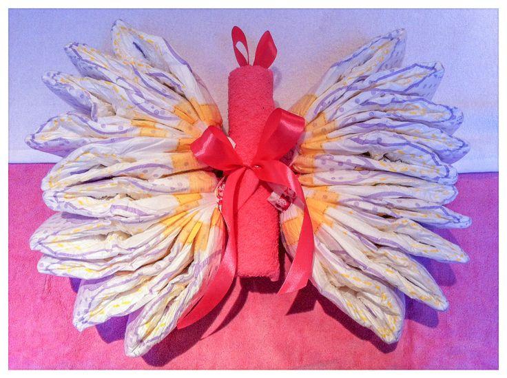 Luier-Vlinder / Diaper Butterfly * Kraamcadeau meisje *Baby shower gift girl. Info: https://joleenskraamcadeaus.wix.com/kraamcadeau#!product/prd1/1812228945/luier-vlinder