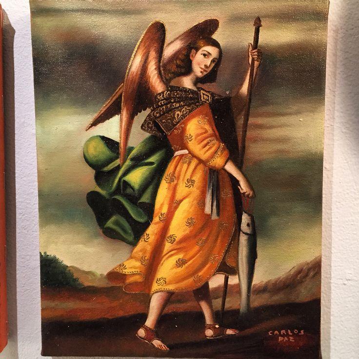 """""""Archangel Rafael"""" - Oil on Canvas, bronze-leaf Applications - 12x16"""" - by Carlos Paz - $119"""