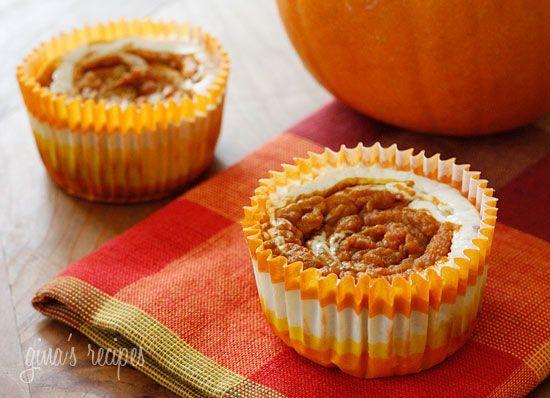Pumpkin Swirl Cheesecake Yogurt Cupcakes | Slim Down Recipes Pumpkin ...