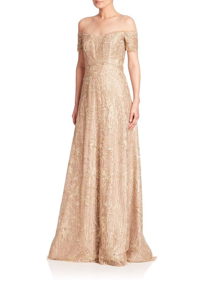 Off the shoulder evening gown in champagne