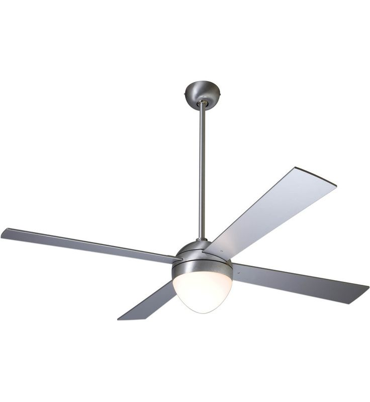 Modern Fan Company - BAL-BA-42-WH-650-003 - Ball Brushed Aluminum Ceiling Fan with 42 Inch White Blades Halogen Light Kit and Handheld Remote Control
