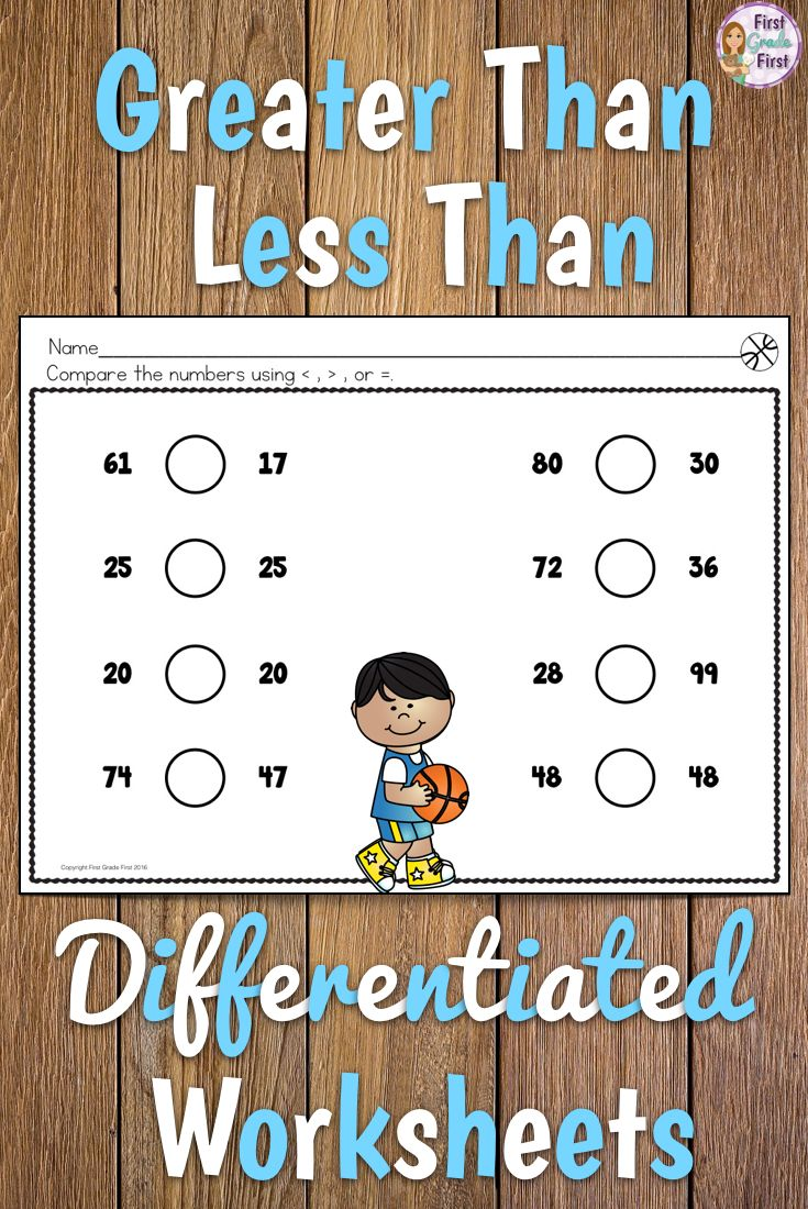 Teaching Greater Than Less Than And Equal To Symbols Can Be A Challenge These Differentiated W First Grade Lessons Math Challenge Kids Worksheets Printables [ 1100 x 735 Pixel ]