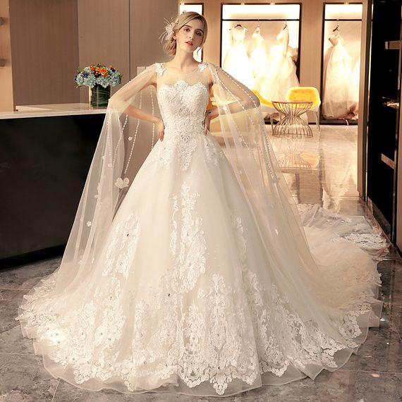 새로운 2017 결혼식은 긴 단어 어깨 새로운 도착 큰 야드 유럽과 미국의 궁전 제나라 얇은했다 후행 결혼 신부 드레스