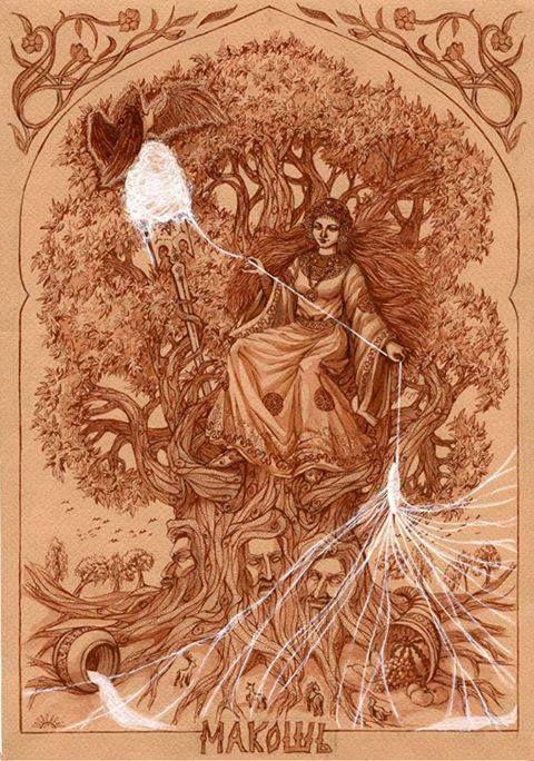 The Slavic Goddess Mokosh Spinning.  (I know it's not Celtic)