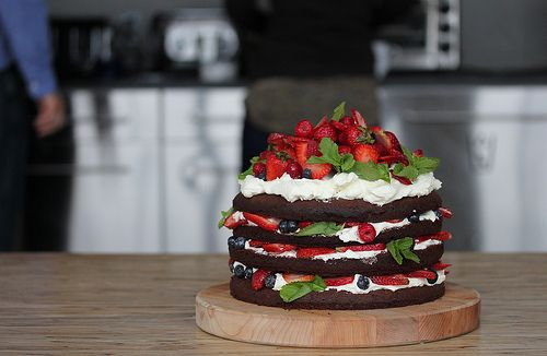chocolate layer cake with berries, cream, and mint. WOW!#Repin By:Pinterest++ for iPad#