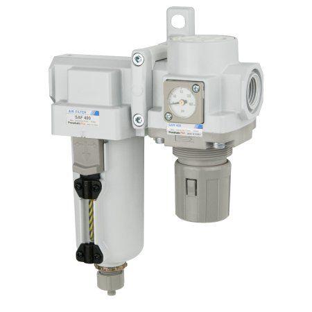 PneumaticPlus SAU420-N04GS-MEP Compressed Air Filter Regulator Combo 1/2 inch NPT - Metal Bowl, Manual Drain, Bracket, Embedded Gauge