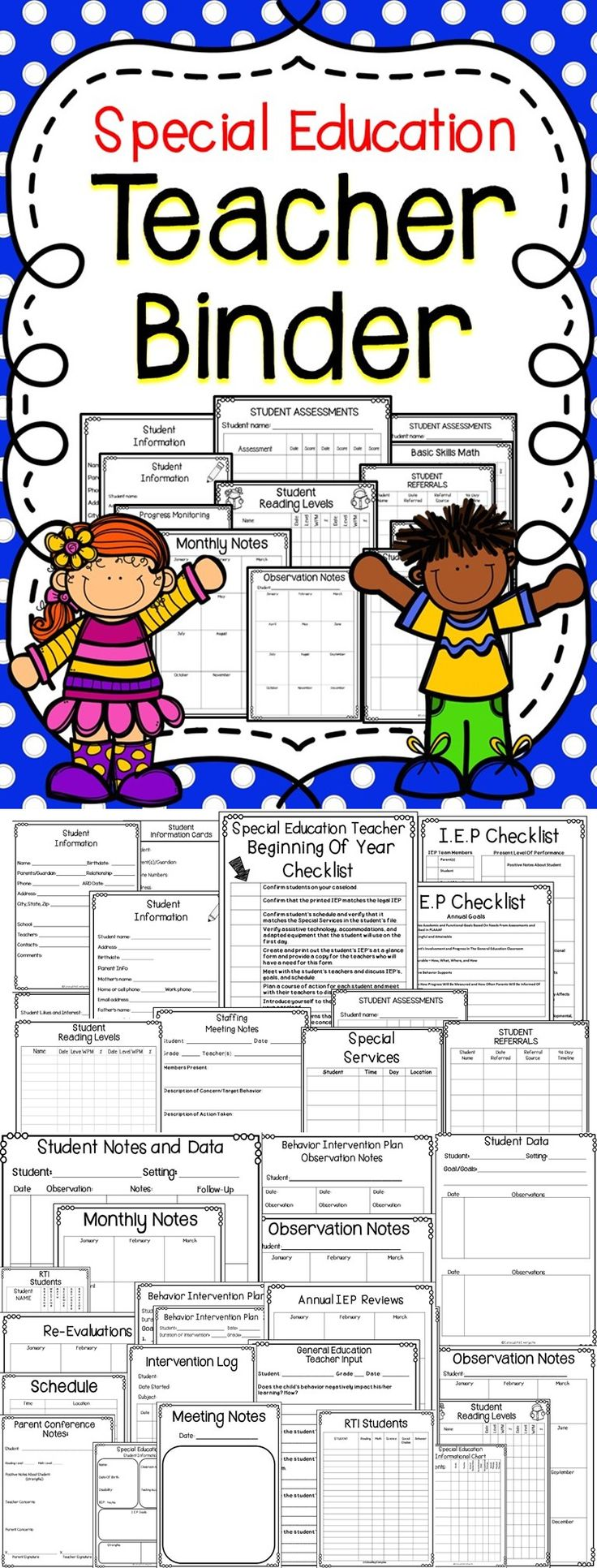 Stay Organized Throughout The School Year With This Special Education Teacher Binder!  This Teacher Binder Includes: Checklist, Data Sheets, Binder Covers, and More!