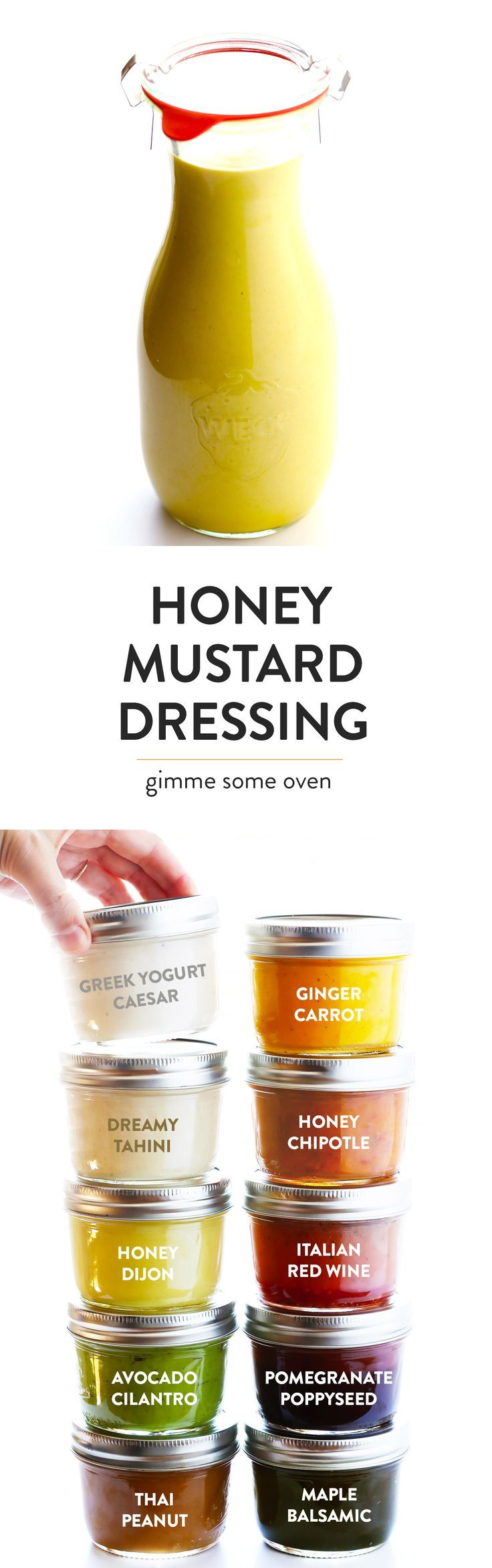 This 4-Ingredient Honey Mustard Dressing is the BEST!! It's super easy to make, perfectly sweet and savory, and always so delicious. Perfect for salads, drizzled on chicken or salmon or veggies, or even used as a dipping sauce. | gimmesomeoven.com (Vegetarian / Gluten-Free)