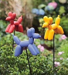 Set Of 3 Balloon Dog Resin Garden Stakes - I could not NOT order these.