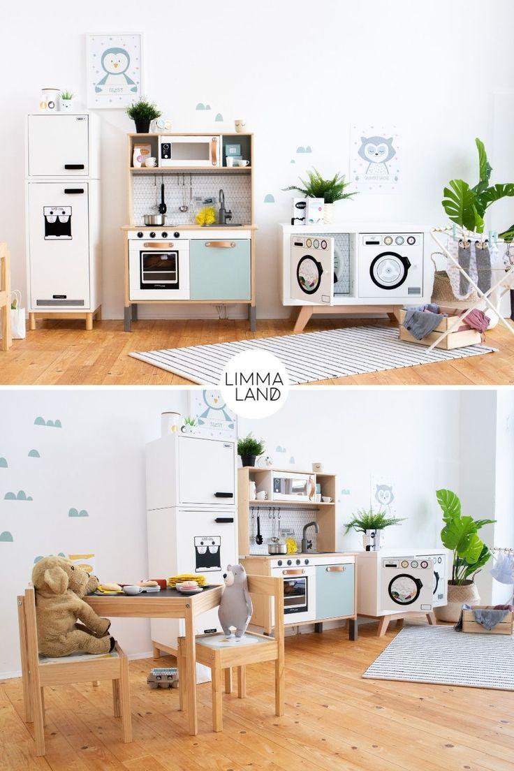 IKEA Hack Ideen im Kinderzimmer. Haushalt spielen Kinder gerne. Das geht  super mit unseren Ideen für einen Kinder Kühlschrank und eine Kinder  Wasc…