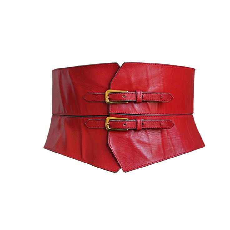 YVES SAINT LAURENT red leather corset belt