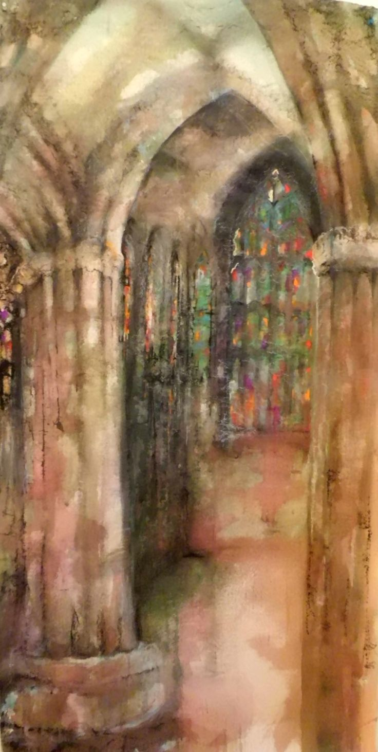 'Sanctuary' The interior of the Church of Holy Rude, Stirling 183 cms x 62 cms watercolour, ink and pastel on paper. For Sale.