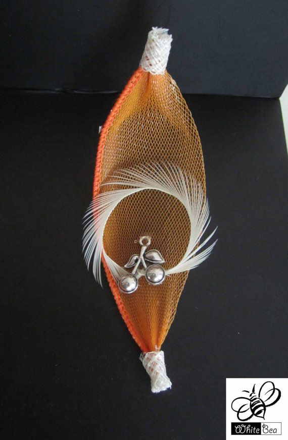 Orange and white lapel pin with Cherry medallion by WhiteBea, $12.50