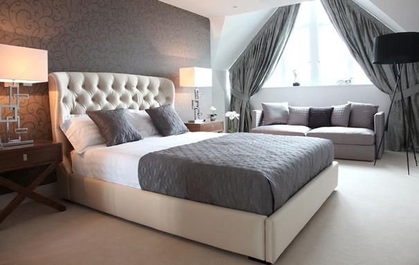 Samoa Upholstered Bed Kingsize or Double Size, Beige Silk Fabric or Tapue Velvet from Furniture for Home