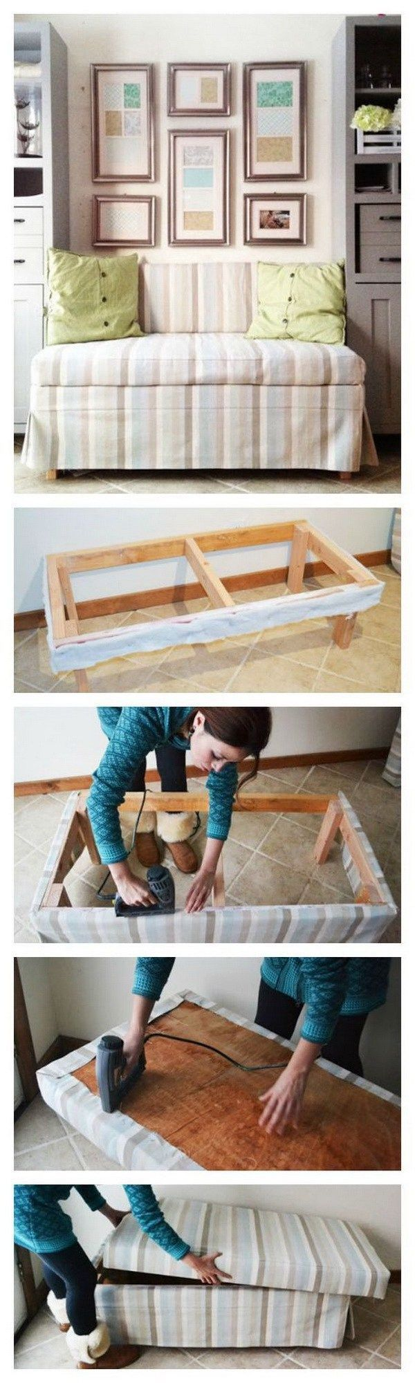 DIY 2x4 Upholstered Banquette Seat: Free step by step plans to build this upholstered banquette seat.