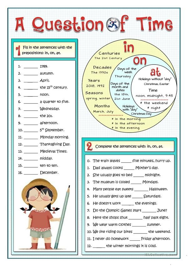A1 practice on the most common prepositions of time in