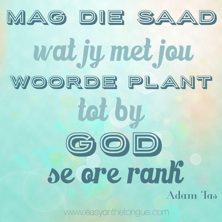 Mag die saad wat jy met jou woorde plant, tot by God se ore rank. Woorde deur Adam Tas in sy lied 'Reën'.