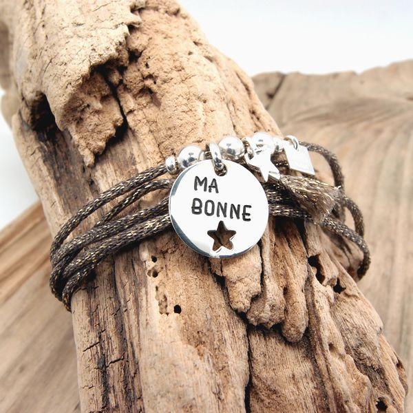 Bracelet collier personnalisé médaille ronde Etoile à graver