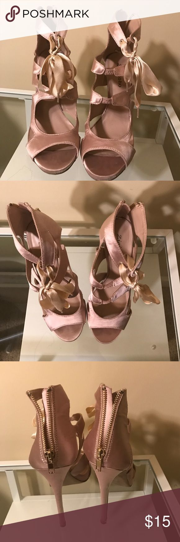 Zigi soho Champagne colored heels These beautifil champagne colored ballerina lace up heels with a zipper fastening in the back Zigi Soho Shoes Heels