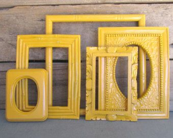 bright yellow picture frames set of 3 with bees w by beautishe - Yellow Picture Frames