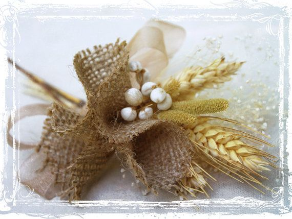 Wheat And Burlap Corsage by sparkleandposy, $18.50