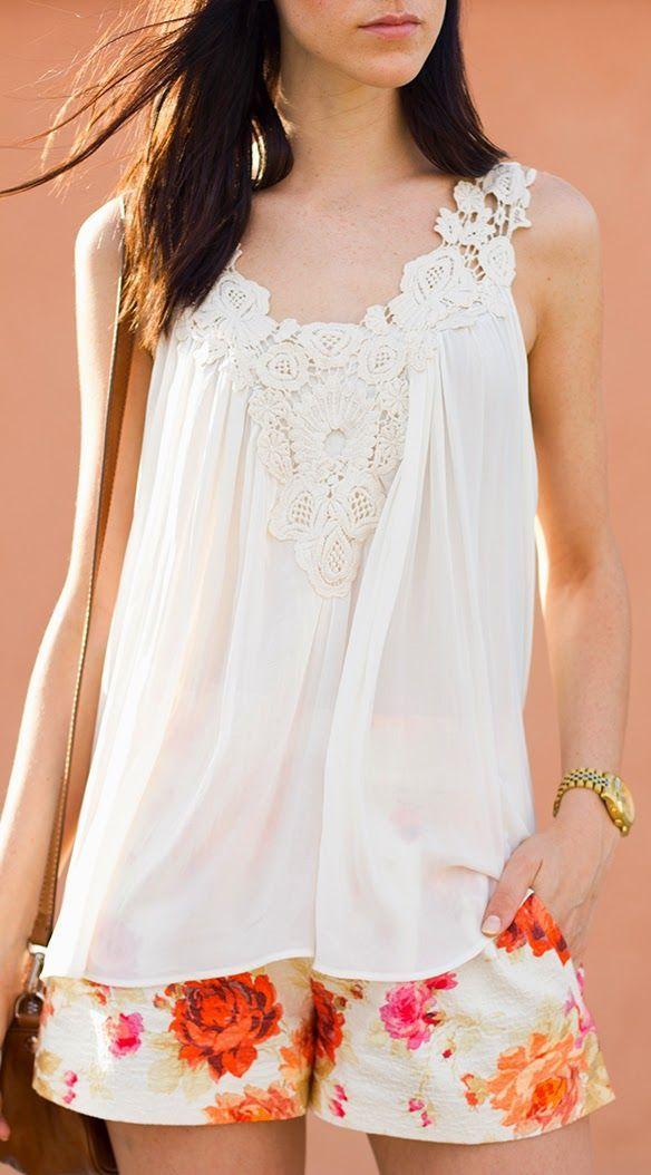 Zara White Chiffon Loose Crochet Neckline Cami- floral shorts!