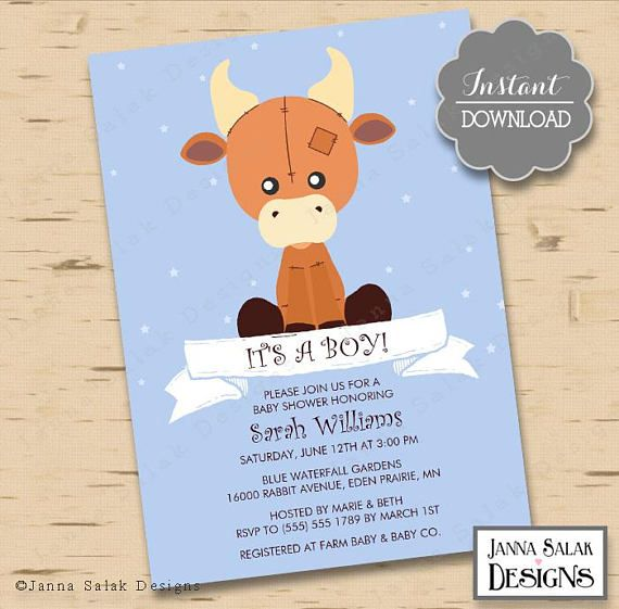 Printable Stuffed Cow Baby Shower Invitation Cute Farm