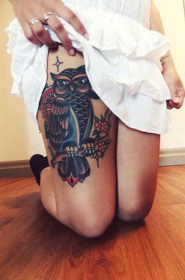 Owl thigh tattoo - Thigh owl tattoo is great placement idea, especially for women, because it has bigger space and you can show it off when you wear short skirts or pants. #TattooModels #tattoo