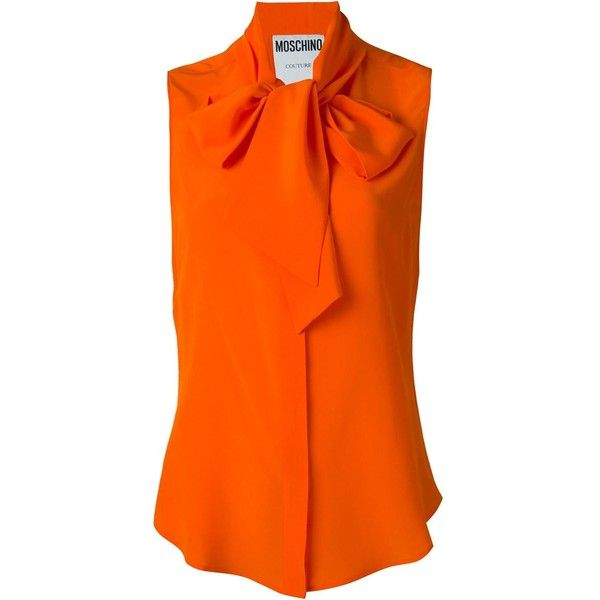 Moschino pussybow blouse (£420) ❤ liked on Polyvore featuring tops, blouses, shirts, silk top, silk sleeveless top, bow collar blouse, orange top and orange silk shirt